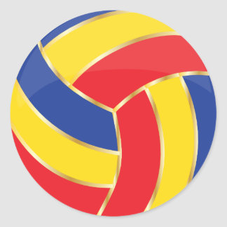 Red, Yellow, Blue and Gold Volleyball Round Stickers