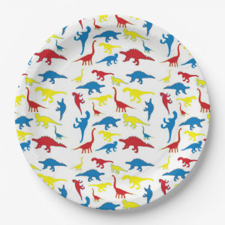 Red yellow blue dinosaur pattern paper plates