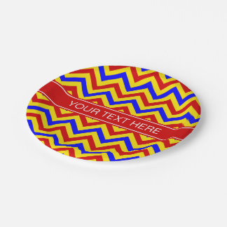 Red, Yellow, Blue LG Chevron Red Name Monogram Paper Plate