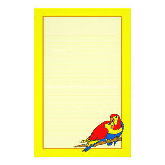Red Yellow Blue Love Birds Fine Lined Stationery