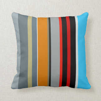 Red Yellow Blue Silver Multicolor Striped Pattern Cushion