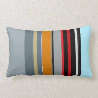 Red Yellow Blue Silver Multicolor Striped Pattern Lumbar Cushion