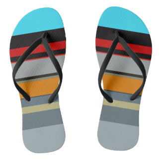 Red Yellow Blue Silver Multicolor Striped Pattern Thongs