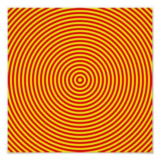 Red & Yellow Concentric Circles Poster