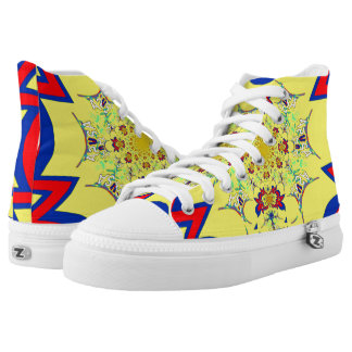 Red Yellow Floral Patterns Colorful sneakers bling