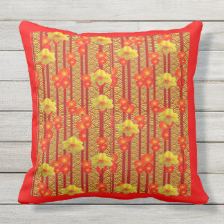 Red & yellow flowers Deco Pattern Outdoor Cushion