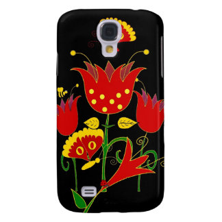 Red Yellow Flowers Floral Fantasy Art Samsung Galaxy S4 Case