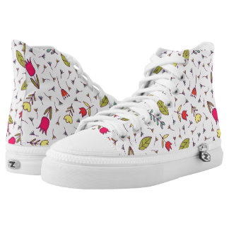 Red Yellow Flowers Green Leaves on White High Tops