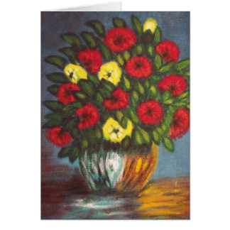 Red Yellow Flowers Vase Painting V Blank Card