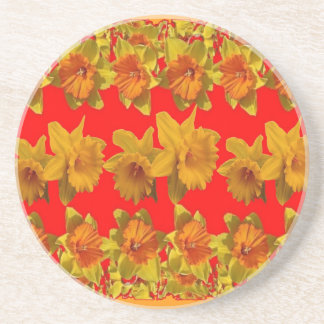 RED-YELLOW GARDEN DAFFODILS ART COASTER