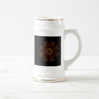Red Yellow Gold Black Abstract Art Kaleidoscope Beer Steins