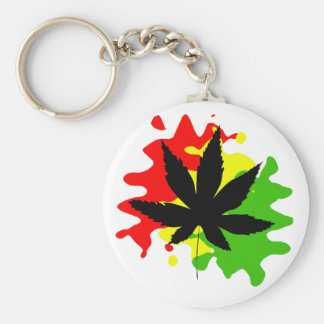 red yellow green behind a black weed key ring