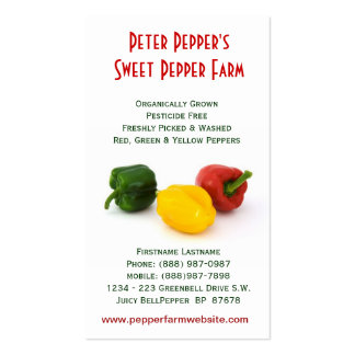 Red Yellow & Green Bell Peppers Business Card Templates