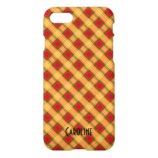 Red Yellow Green Gingham Pattern Personalized Name iPhone 7 Case