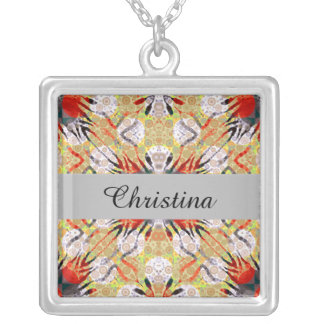 Red Yellow Grey Zebra Abstract Silver Plated Necklace