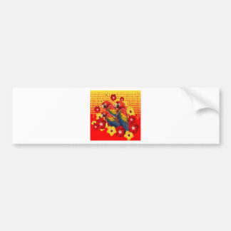 RED-YELLOW HIBISCUS & MACAWS BUMPER STICKER