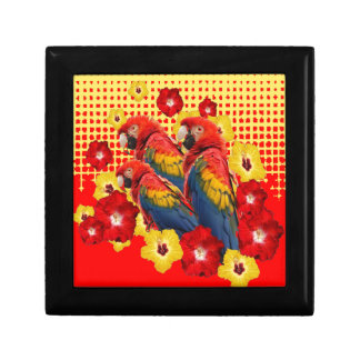RED-YELLOW HIBISCUS & MACAWS GIFT BOX