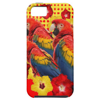 RED-YELLOW HIBISCUS & MACAWS iPhone 5 COVERS