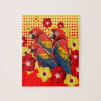 RED-YELLOW HIBISCUS & MACAWS JIGSAW PUZZLE