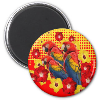 RED-YELLOW HIBISCUS & MACAWS MAGNET