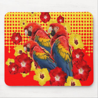 RED-YELLOW HIBISCUS & MACAWS MOUSE PAD
