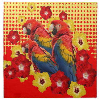 RED-YELLOW HIBISCUS & MACAWS NAPKIN