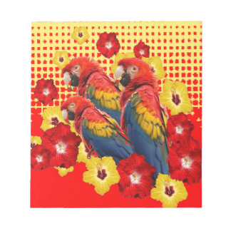 RED-YELLOW HIBISCUS & MACAWS NOTEPAD