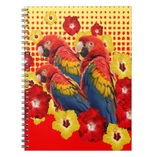 RED-YELLOW HIBISCUS & MACAWS SPIRAL NOTEBOOK