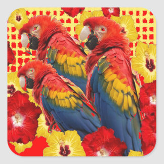 RED-YELLOW HIBISCUS & MACAWS SQUARE STICKER