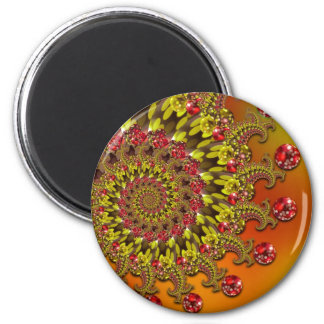 Red Yellow & Orange Bokeh Fractal Pattern Refrigerator Magnet