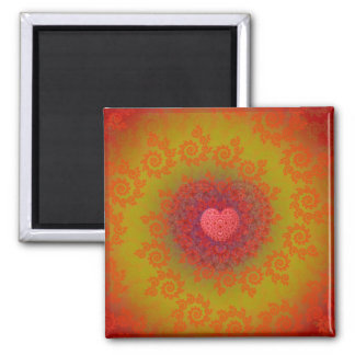 Red Yellow & Orange Heart Fractal Magnet
