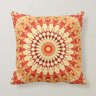 Red Yellow Orange Summer Sun Mandala Pattern Cushion