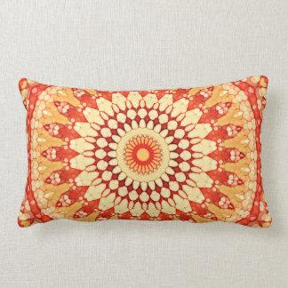 Red Yellow Orange Summer Sun Mandala Pattern Lumbar Cushion