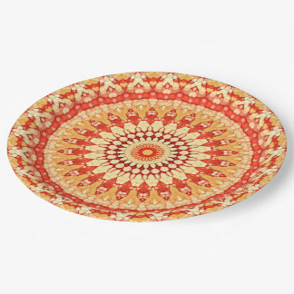 Red Yellow Orange Summer Sun Mandala Pattern Paper Plate