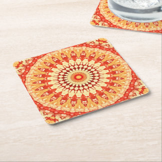 Red Yellow Orange Summer Sun Mandala Pattern Square Paper Coaster