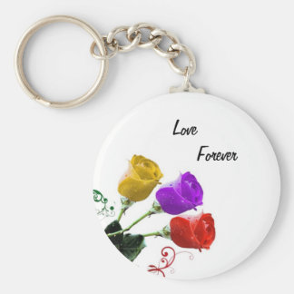 Red, Yellow, Purple Rose Buds Basic Round Button Key Ring