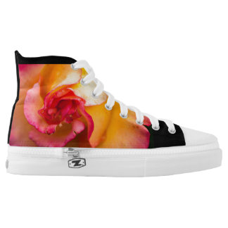 Red & yellow rose flower in a macro image by ©Chi Printed Shoes