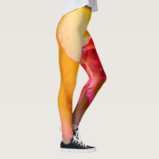 Red & yellow rose flower leggings