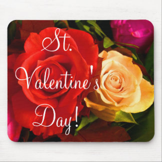 Red Yellow Rose Valentine II Mousepad Mousepads