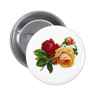 Red & Yellow Roses 6 Cm Round Badge