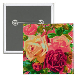Red & Yellow Roses 15 Cm Square Badge
