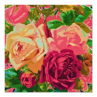 Red & Yellow Roses 13 Cm X 13 Cm Square Invitation Card