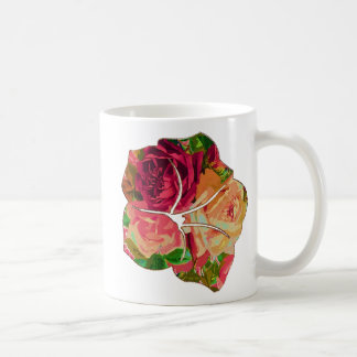 Red & Yellow Roses Motif Basic White Mug