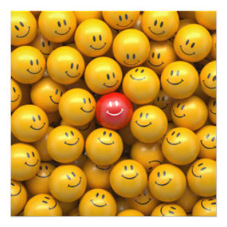 Red Yellow Smiley Faces Pattern Design Photo