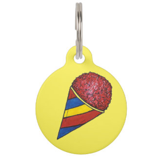 Red Yellow Snow Sno Cone Snocone Dog Pet Tag