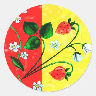 Red & Yellow Springtime Strawberry Flowers Classic Round Sticker