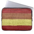 Red & Yellow Stripes Burlap Rustic Jute Laptop Sleeve
