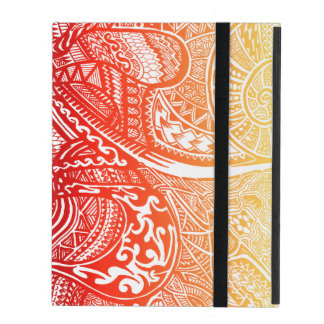 Red/Yellow Sunset Hand-drawn Crazy Tribal Doodle iPad Cover