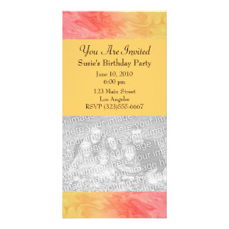 Red Yellow Texture pattern Personalised Photo Card