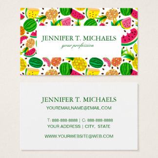 Red & Yellow Tropical Fruit Pattern Business Card